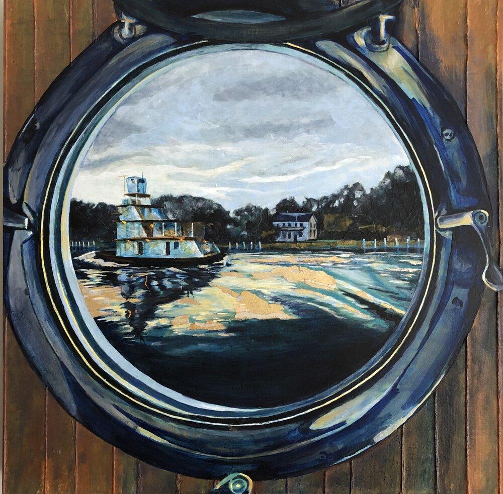 Porthole View: Tugboat at Twilight