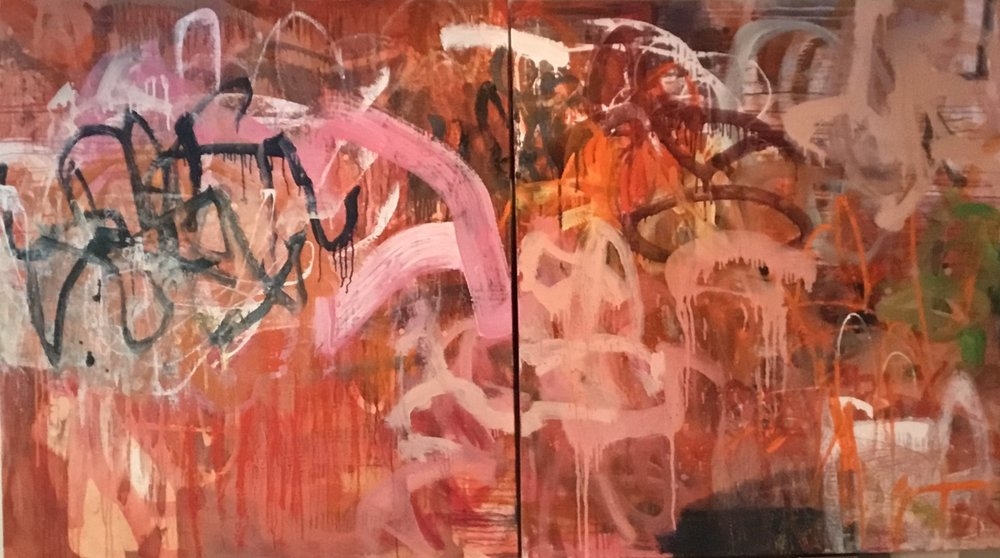 Untitled diptych, WIP     40 x 72    oil on canvas