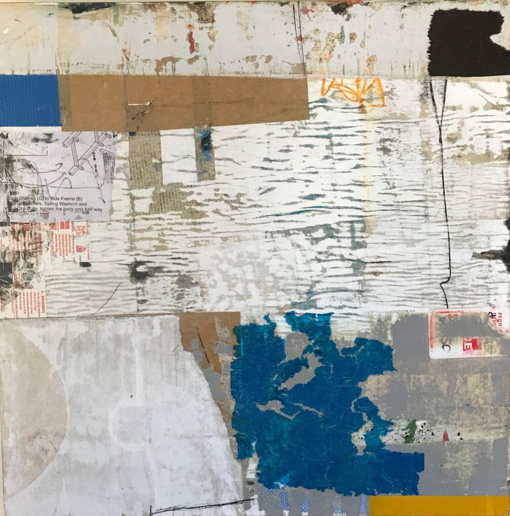 BETWEEN RWC AND EPA 18 x 18 mixed media on cradled panel
