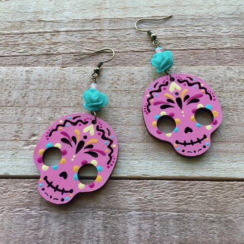 Happy skull pink flower earrings the happy skull studio happy skull pink flower earrings mightylinksfo