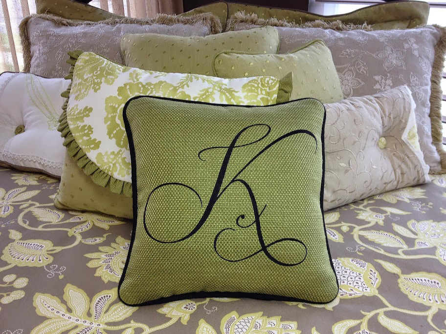 pillow with custom letter initial embroidery
