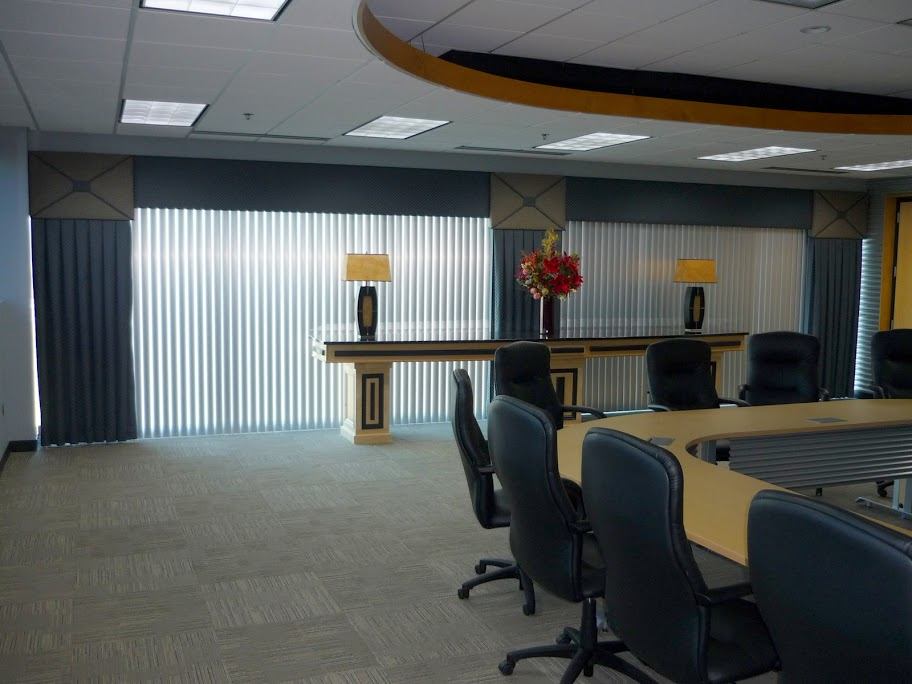 conference room commercial vertical blinds cornice box and panels