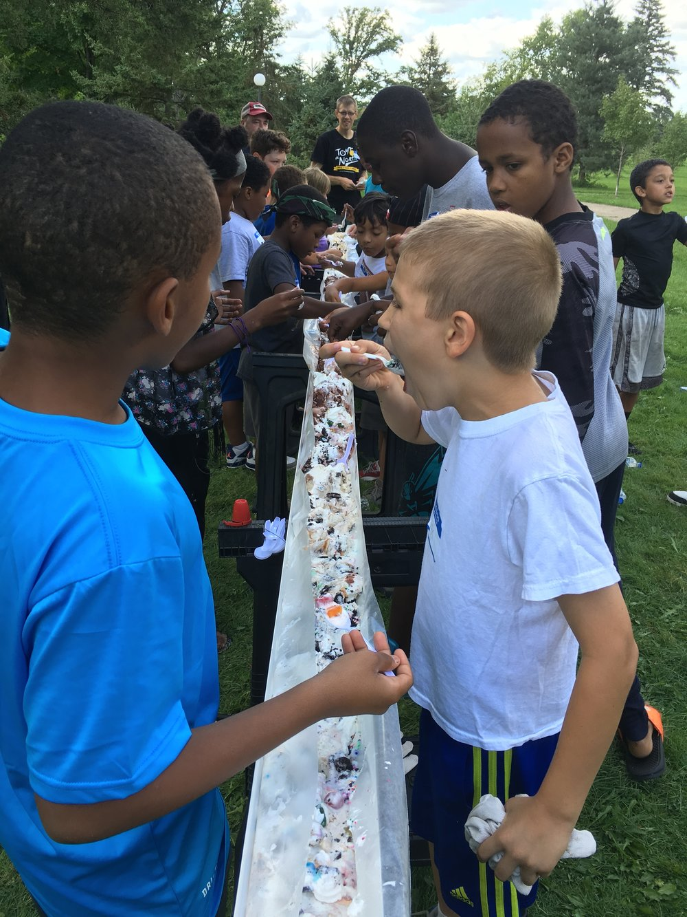 20ft long sundae to reward the Boys to Men for their hard work.
