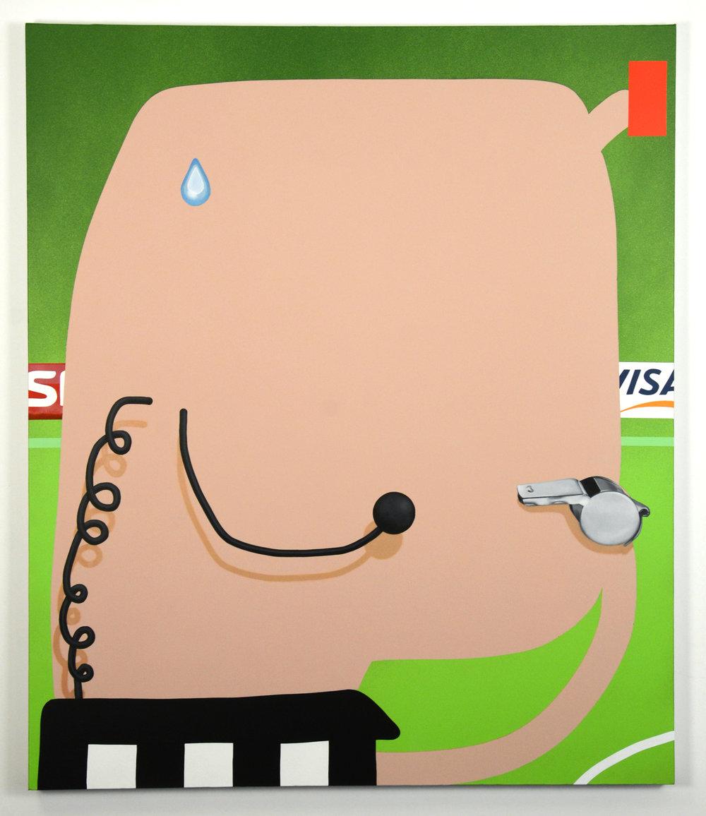 Whistleblower, 2017, oil, acrylic and spraypaint on canvas, 112cm x 132cm