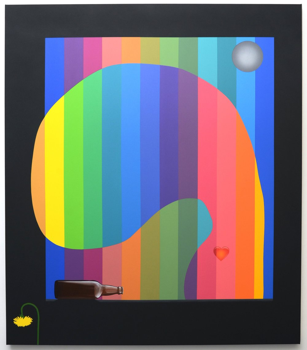 'Social Chameleon' (Homage to Ellsworth Kelly), 2018, oil acrylic and spray paint on canvas, 130cm x 150cm