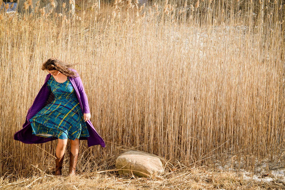 Heather pictured in Nicole dress and Sarah duster sweater. Waterville, Maine Quarry Road Recreation.