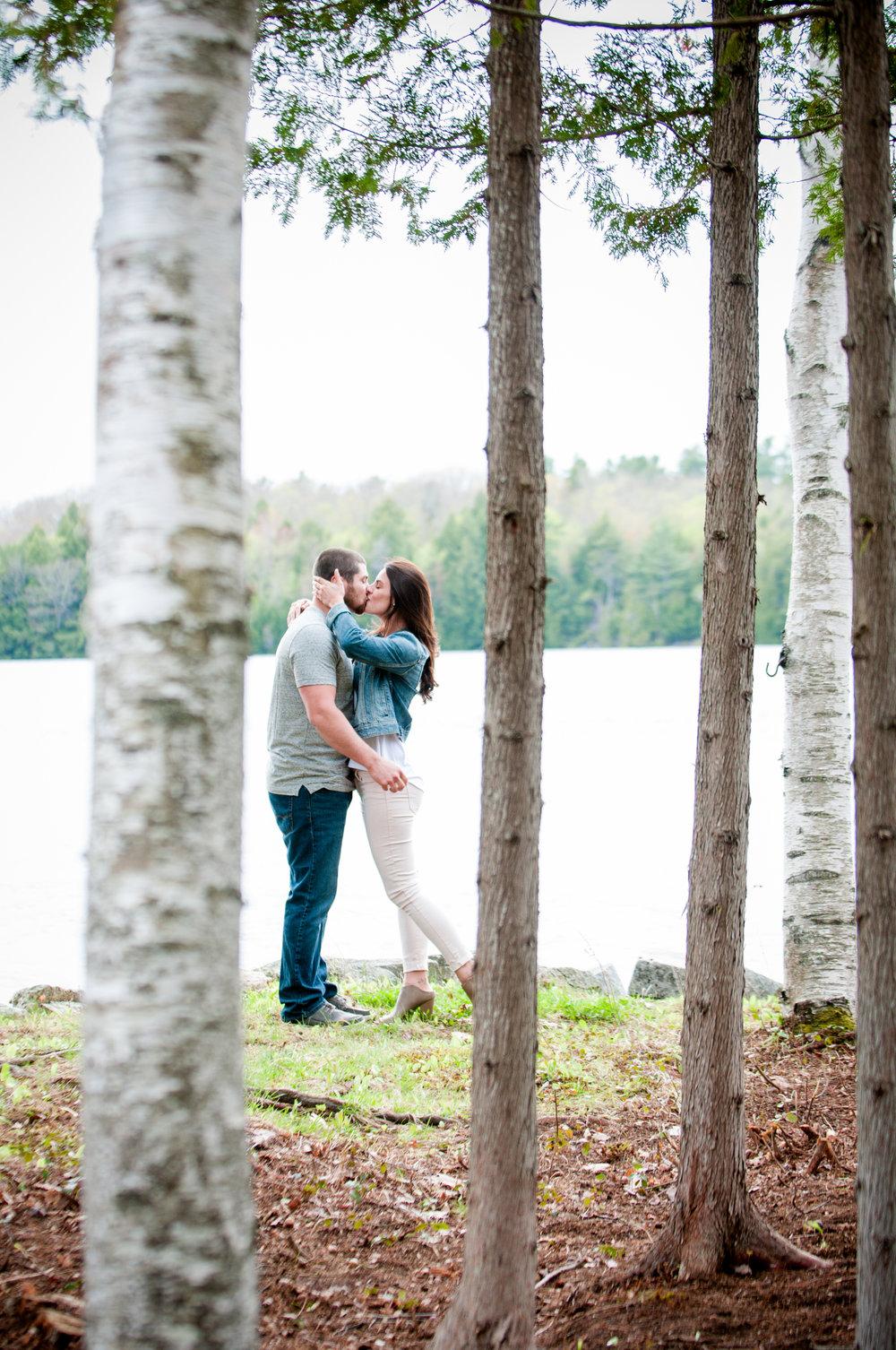 Maine Spring Lakeside Woodland Engagement Session