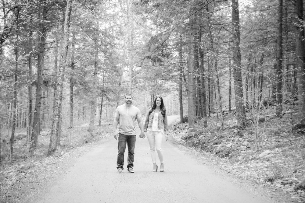 Black and White Maine Woodland Engagament Pictures