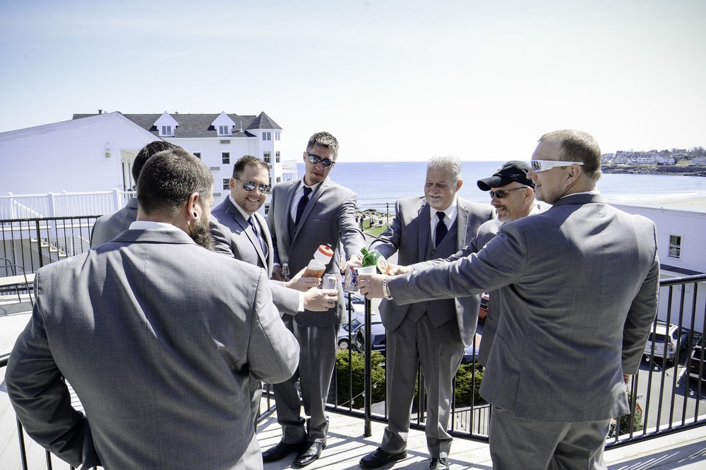 York Beach Maine Wedding Groomsmen Toast Getting Ready