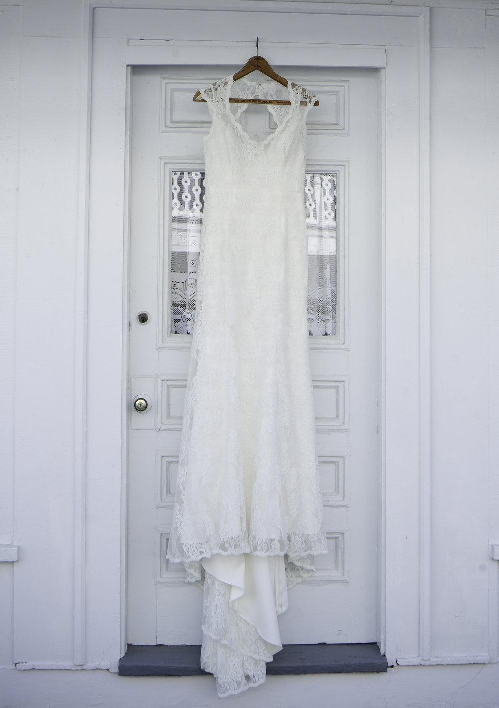 York Beach Maine.  Vintage Lace Wedding Gown