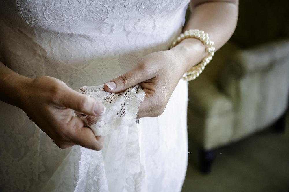 York Beach Maine Wedding.  Bride Getting Ready Vintage Lace Wedding Dress
