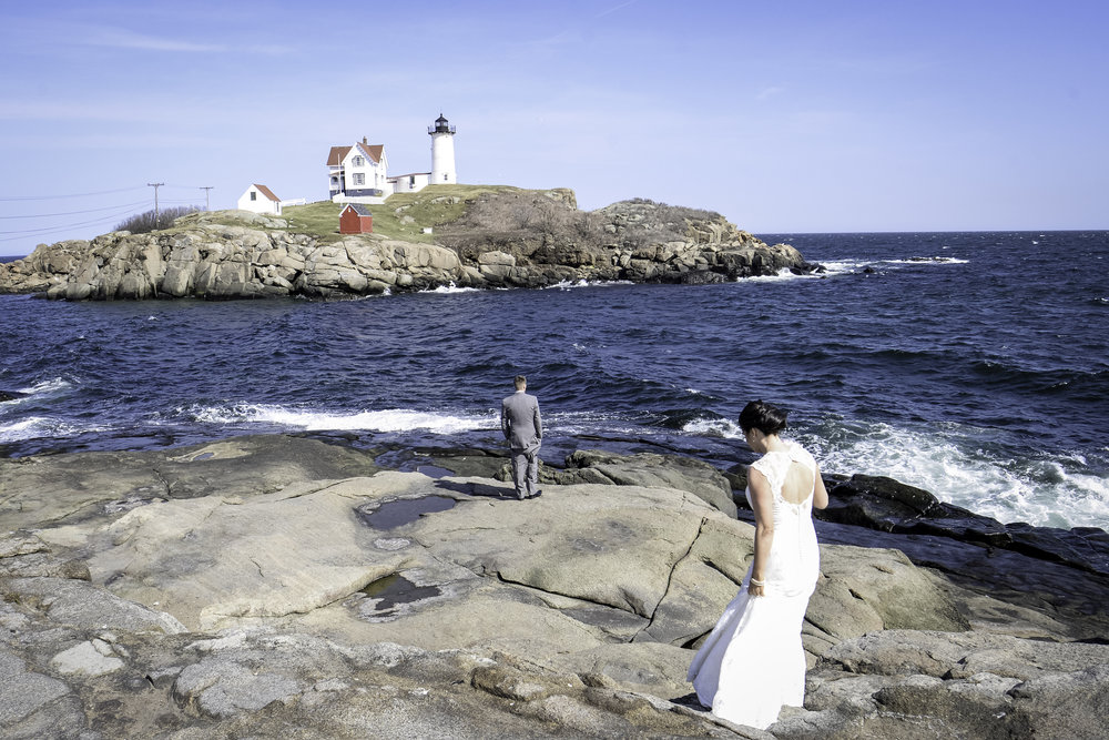 York Beach Maine Nubble Lighthouse Bride and Groom First Look