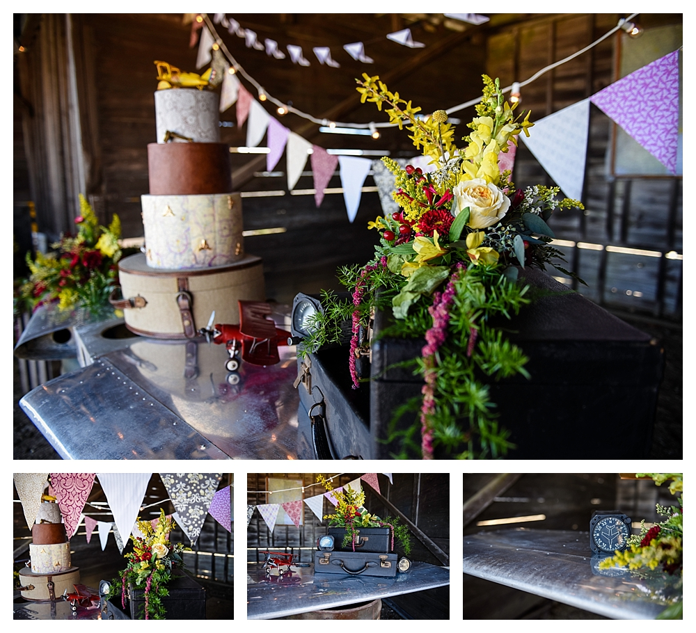Amelia Earhart Vintage Hangar Wedding Cake bar and Florals.jpg