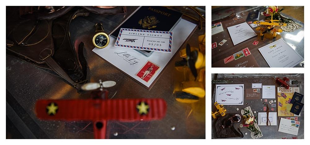 Amelia Earhart Vintage Hangar Wedding Little Ivy Papergoods Invitation Suite Vintage Postage .jpg