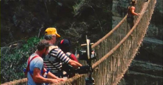 The rope bridge sequence on Indiana Jones and the Temple of Doom (in Sri Lanka)