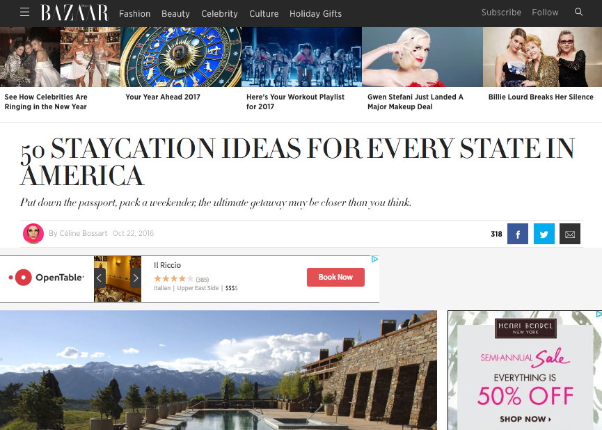 """A Staycation for Every State"" - Harper's Bazaar"
