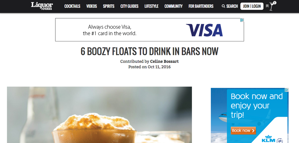 """6 Boozy Floats to Drink in Bars Right Now"" - Liquor.com"