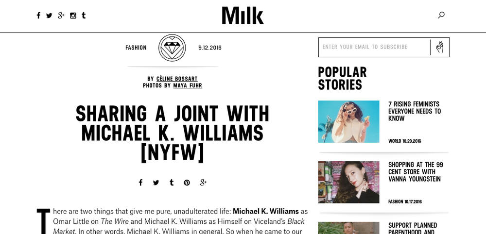 """Sharing a Joint with Michael K. Williams"" - Milk.xyz"
