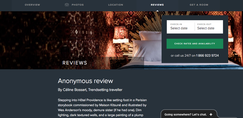 """Anonymous"" review of Hôtel Providence Paris - Mr. and Mrs. Smith"