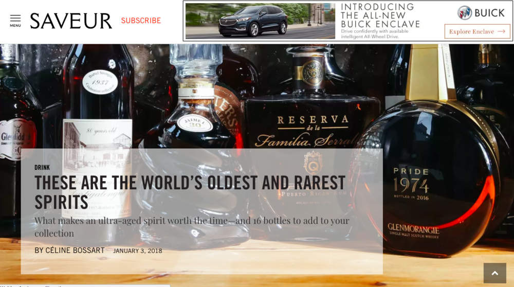 """These Are the World's Oldest and Rarest Spirits"" - Saveur Magazine"