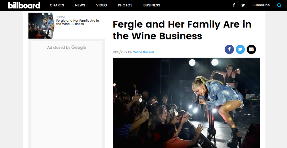 """Fergie and Her Family Are In the Wine Business"" - Interview, Billboard"