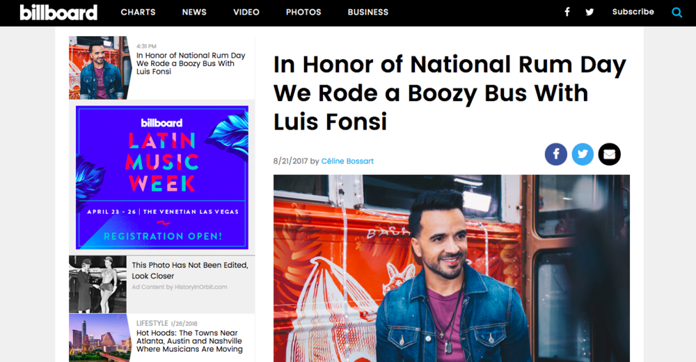 """In Honor of National Rum Day We Rode a Boozy Bus with Luis Fonsi"" - Interview, Billboard"
