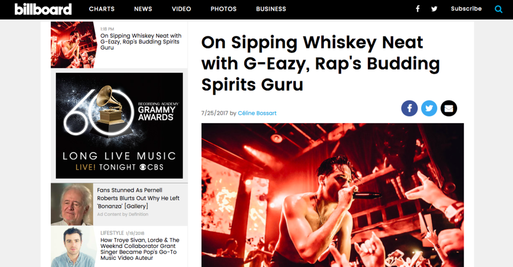 """On Sipping Whiskey Neat with G-Eazy, Rap's Budding Spirits Guru"" - Exclusive Interview, Billboard"