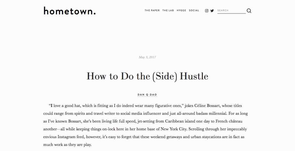 """How to Do the (Side) Hustle"" - hometown"