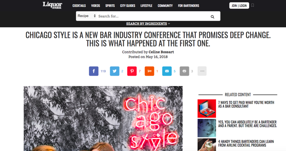"""Chicago Style is a New Bar Industry Conference That Promises Deep Change. This Is What Happened at the First One."" - Liquor.com"
