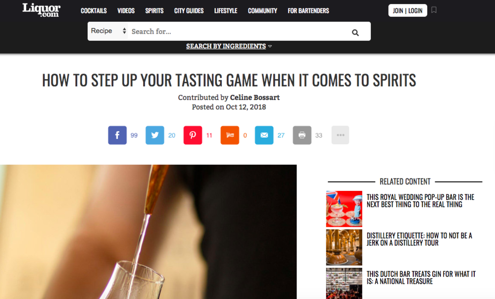 """How to Step Up Your Tasting Game When It Comes to Spirits"" - Liquor.com"