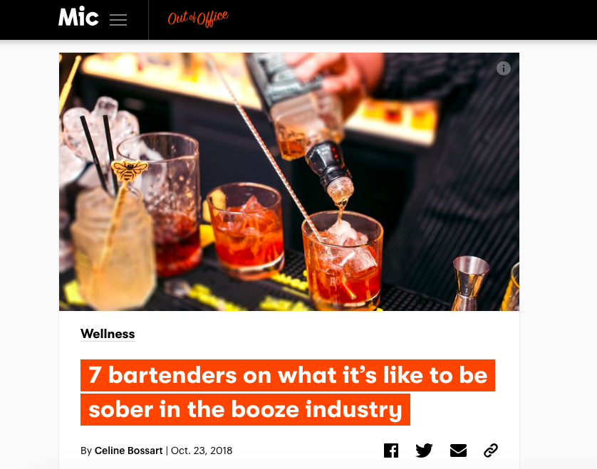 """7 Bartenders on What It's Like to Be Sober in the Booze Industry"" - Mic Out of Office"