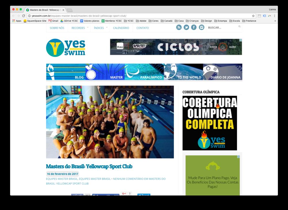 Clique na imagem e leia a matéria que a Beatriz Nantes escreveu no Blog Yes Swim sobre o Yellowcap Sport Club.