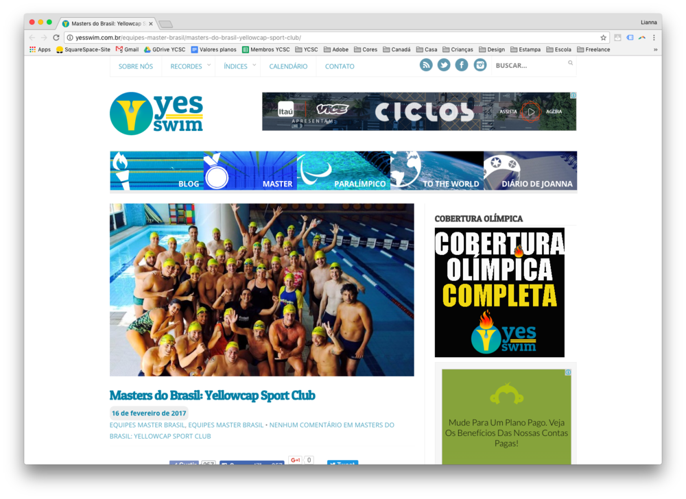 Leia a matéria que a Beatriz Nantes escreveu no Blog Yes Swim sobre o Yellowcap Sport Club.