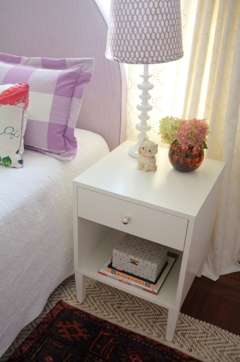 Warren Bedside Table, Modern White Paint, Small
