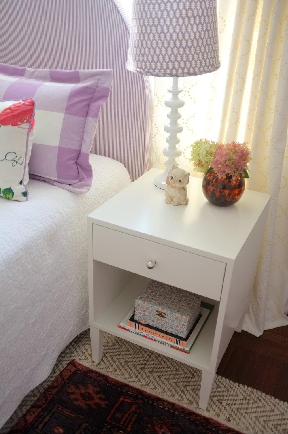 Warren Bedside Table, Modern White Paint, Small