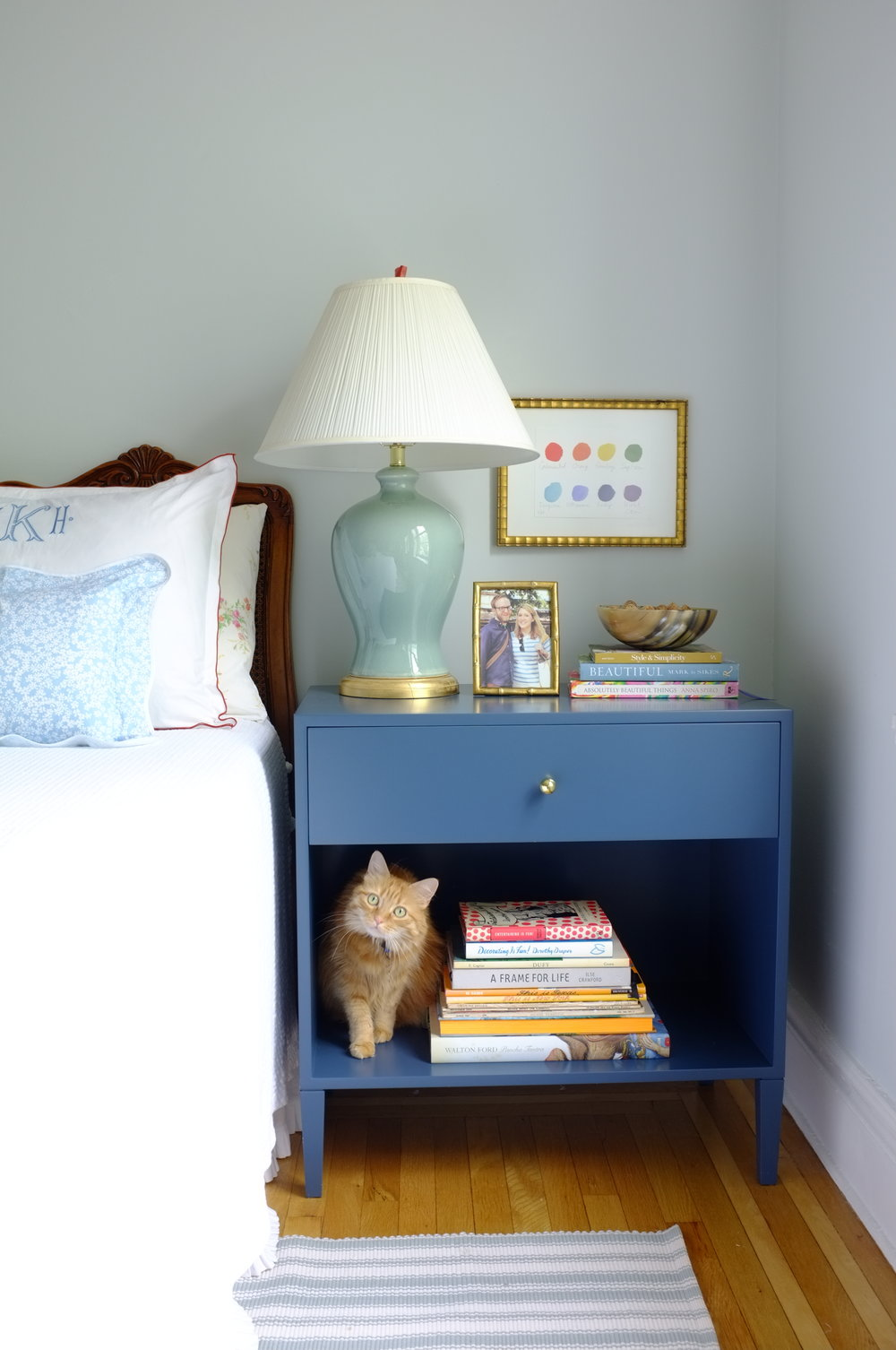 Warren Bedside Table, Oxford Blue Paint, Large