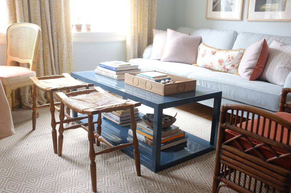 Orchard Coffee Table, Oxford Blue Lacquer, 48""