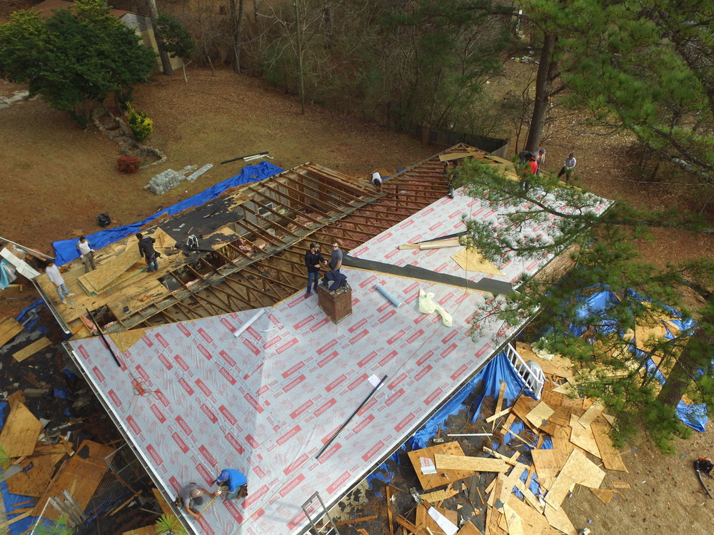 DRONE SHOT AS WE ARE RE-DECKING THE ROOF