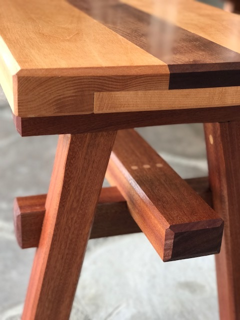 Detail on joinery of benches for the outdoor table.