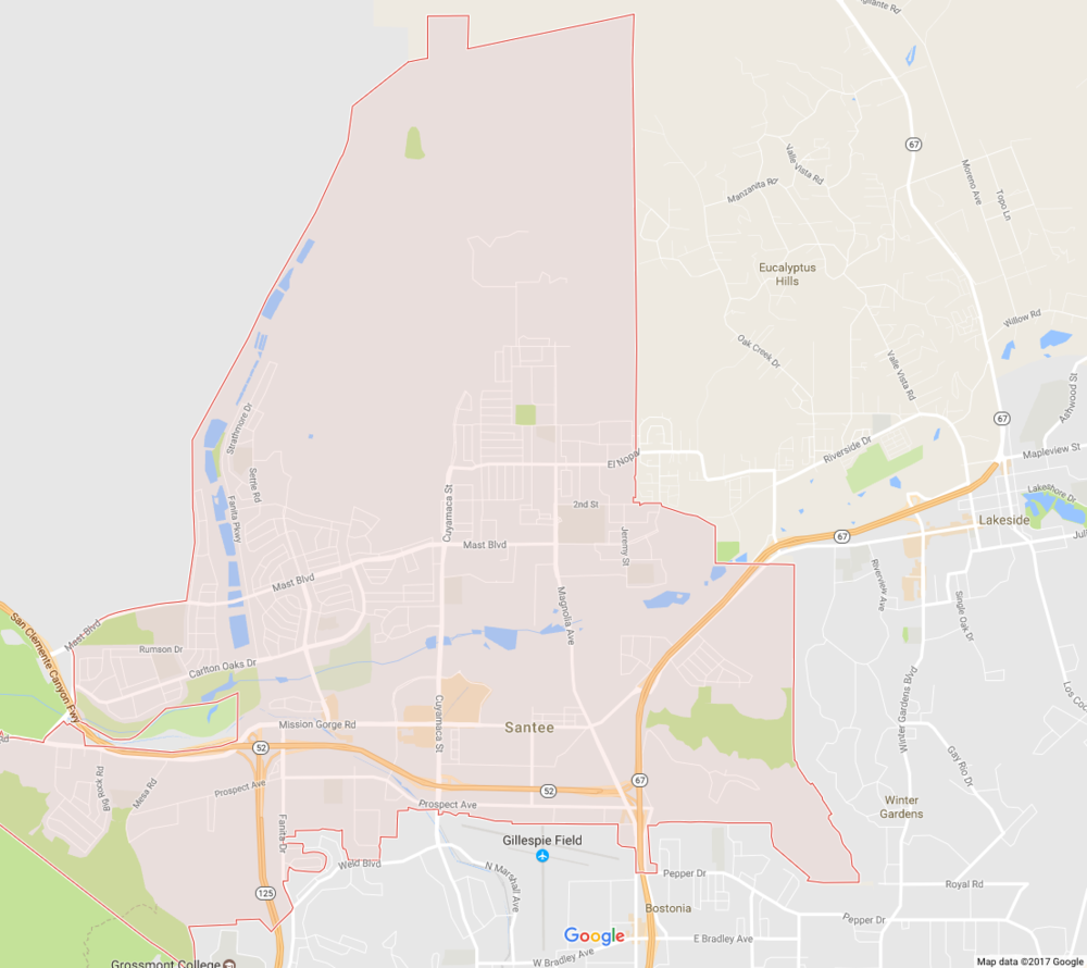 Santee is a suburb of San Diego in San Diego County, California, with a population of 53,413 at the 2010 census. Although it is a part of the East County region, Santee is located just 18 miles from the Pacific Ocean. Wikipedia
