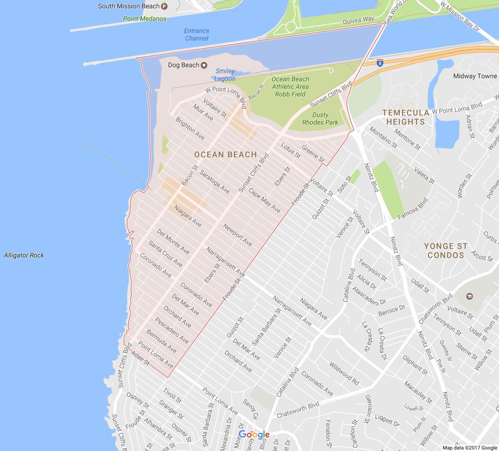 Ocean Beach is a beachfront neighborhood of San Diego, California.Wikipedia