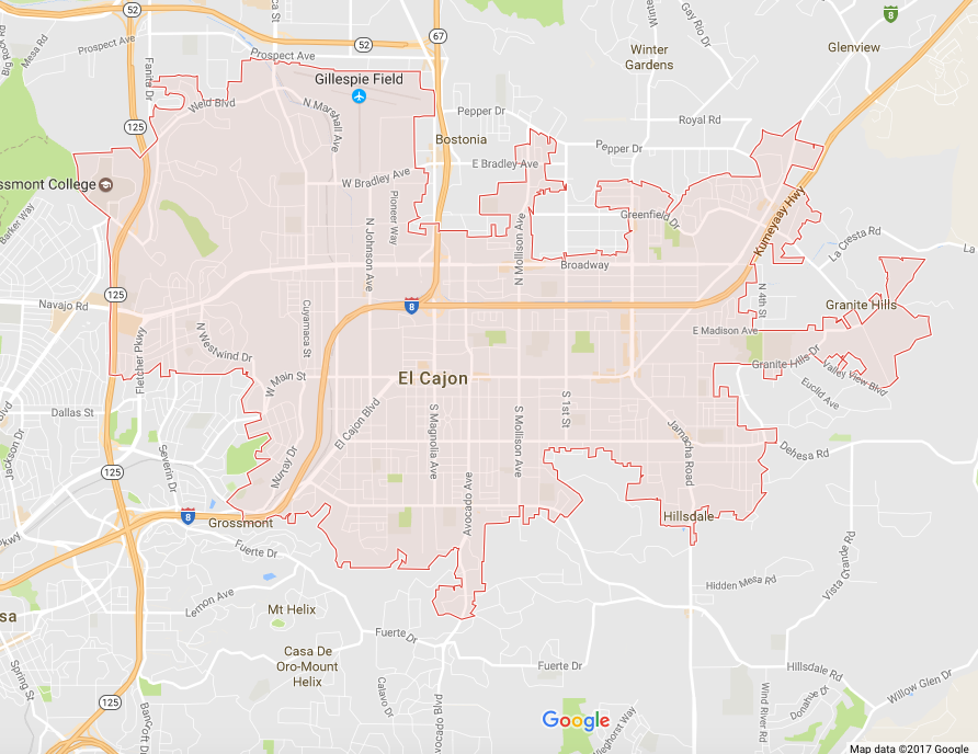 """El Cajon is a city in San Diego County, California, United States. In a valley surrounded by mountains, the city has acquired the nickname of """"The Big Box.""""Wikipedia"""