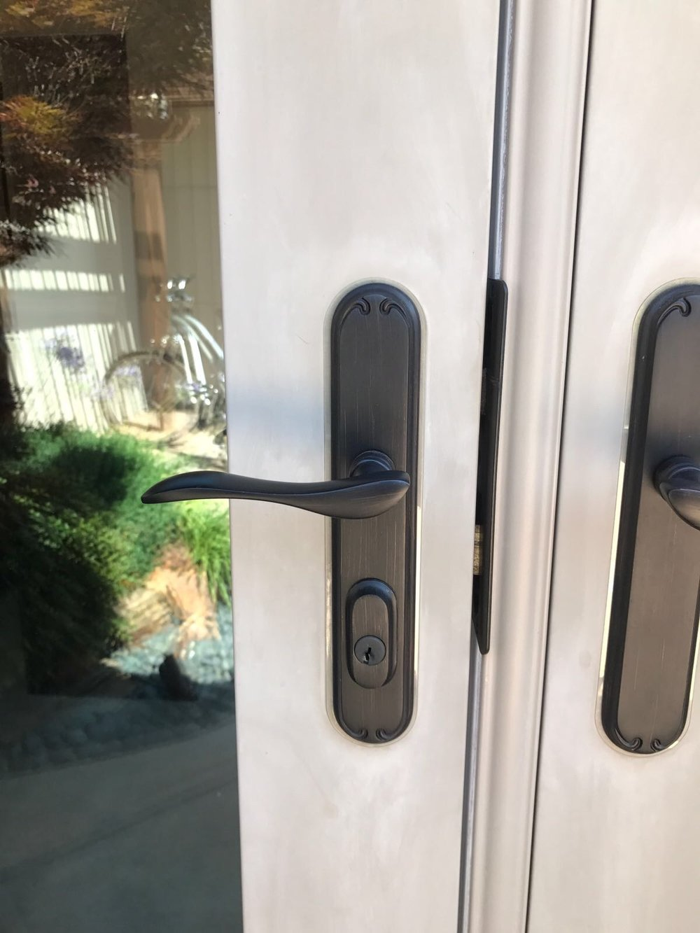 Client's new lock installed on her french doors.