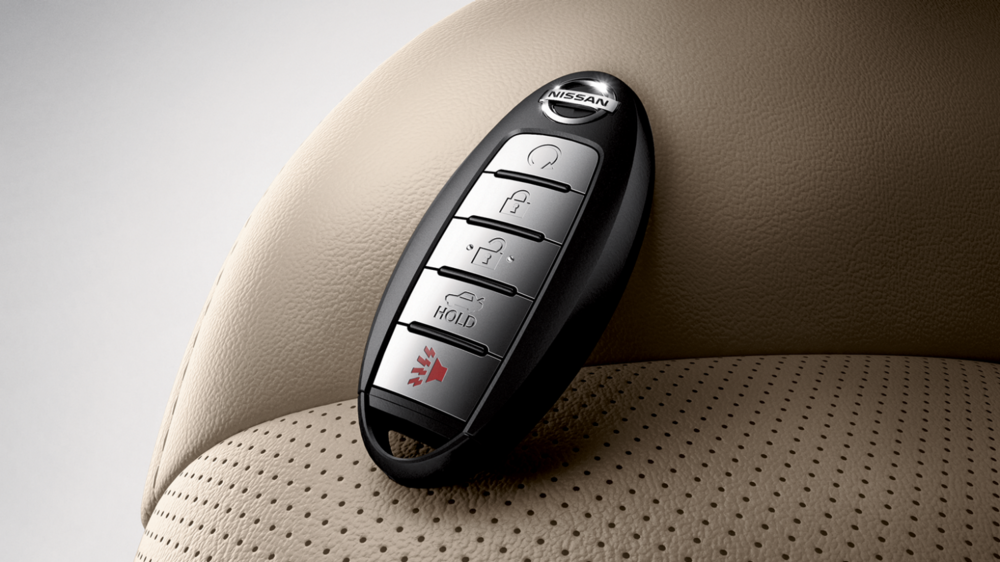 Quick Lock and Pick Locksmith programs smart keys for Nissan, and also cuts the emergency key blade for a low price! This is a smart key for push to start Nissan and for proximity entry. (Pressing the button on the handle if equipped to unlock the car)