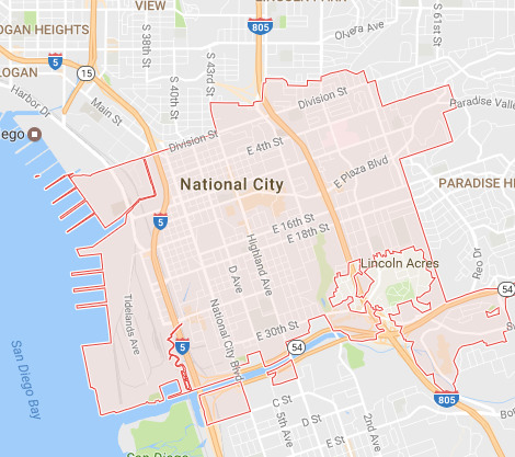 NATIONAL CITY IS A CITY LOCATED IN THE SOUTH BAY REGION OF THE SAN DIEGO METROPOLITAN AREA, IN SOUTHWESTERN SAN DIEGO COUNTY, CALIFORNIA. THE POPULATION WAS 58,582 AT THE 2010 CENSUS, UP FROM 54,260 AT THE 2000 CENSUS. WIKIPEDIA
