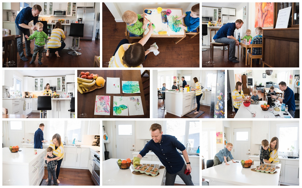 A collage of photos of a family making muffins in a documentary family photo session.