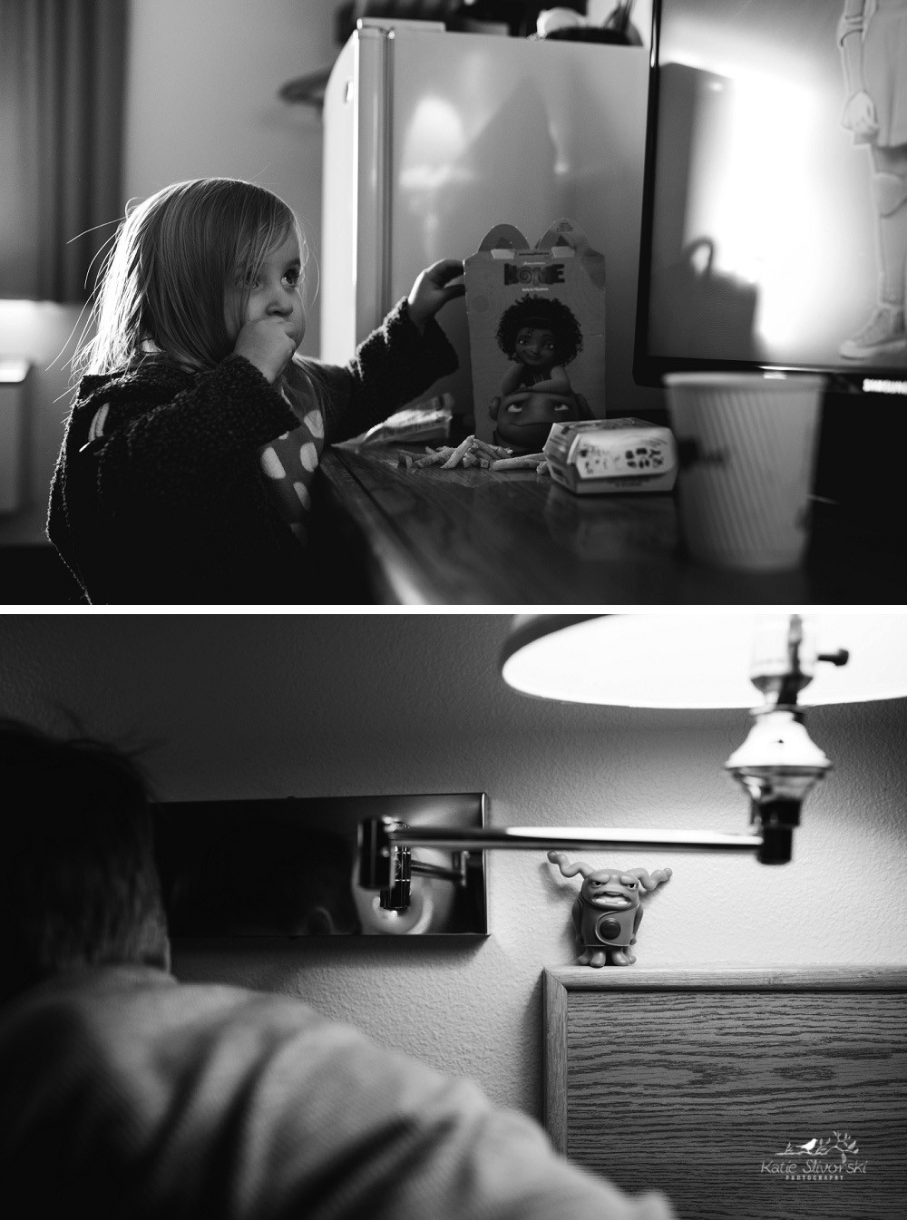 two photos of eating in a hotel and a McDonald's toy