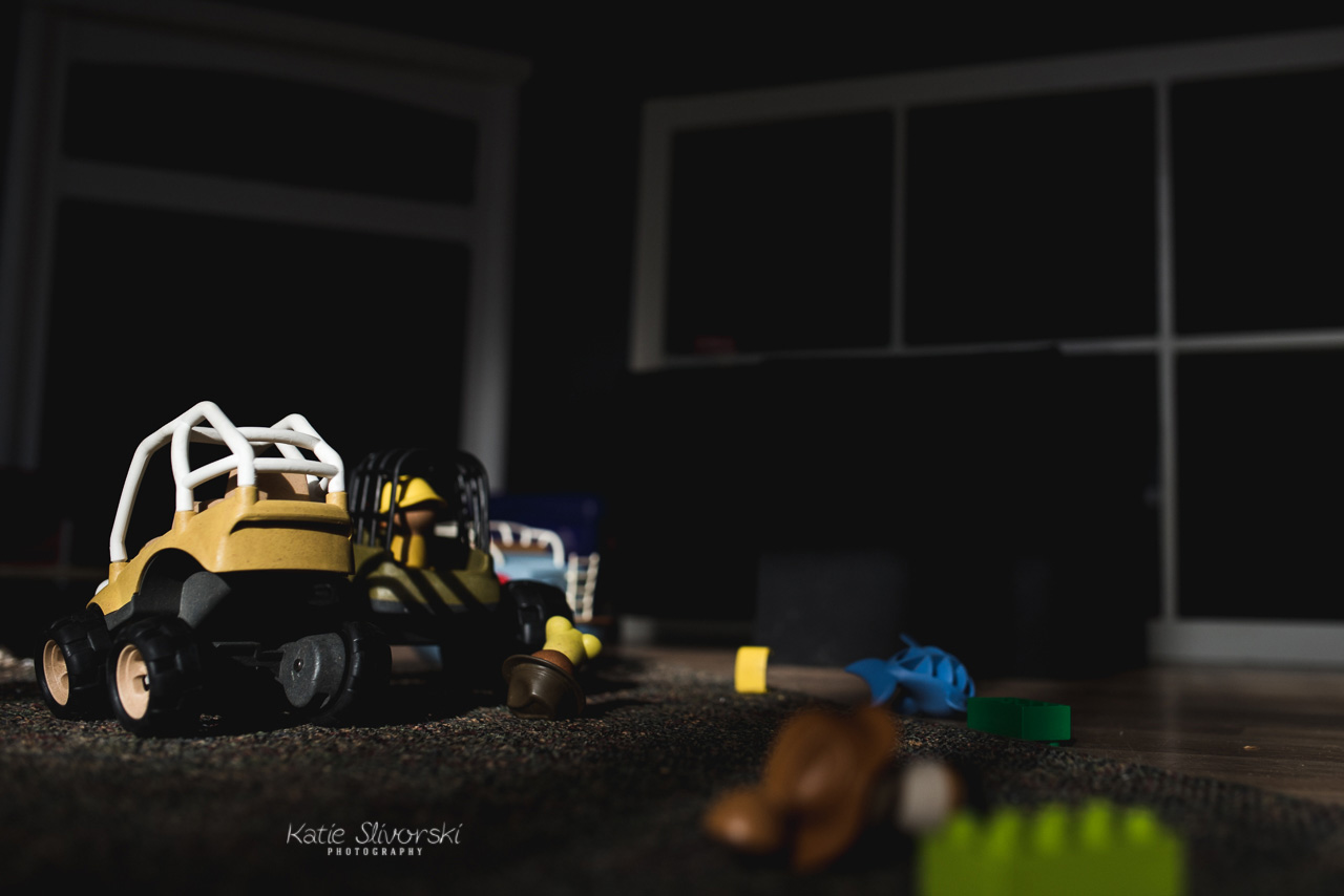 toys in last light in photographer's living room