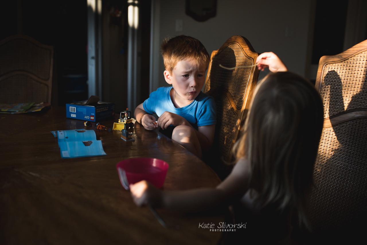 Kids eating noodles in Edmonton