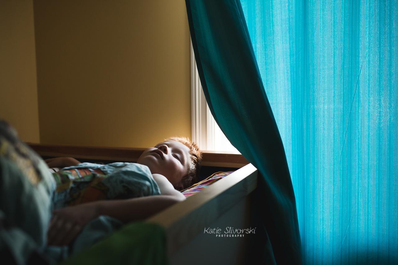 Kid sleeping in IKEA bed